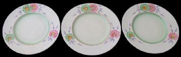 Clarice Cliff Three Plates With A Floral Design